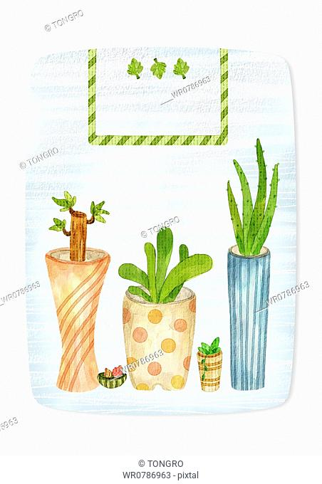 A illustration of plants growing in vase