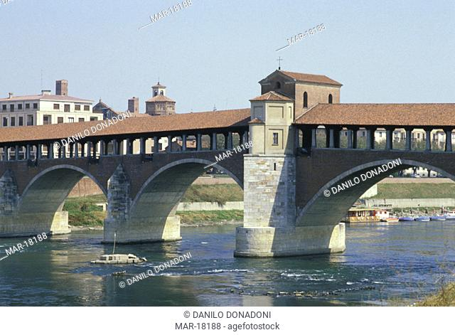 town and covered bridge, pavia, italy