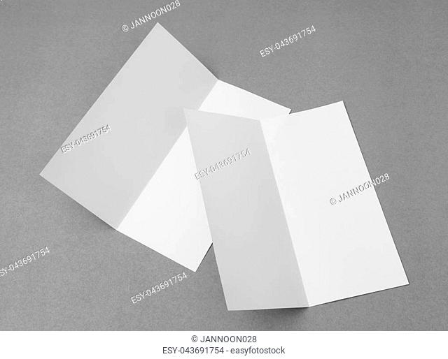 Bifold white template paper on gray background