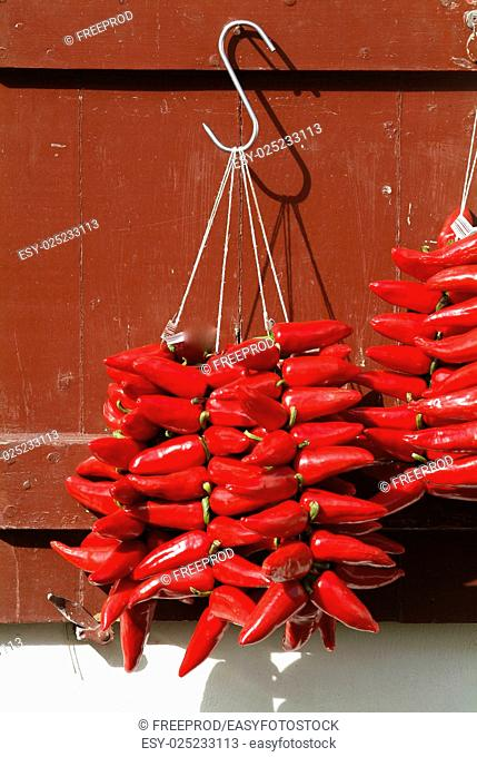 Red chilli peppers, Espelette, Pays Basque, Aquitaine, France