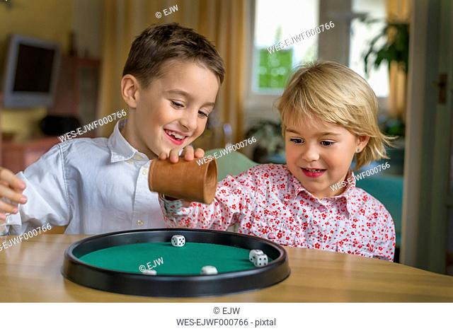 Brother and sister doing a game of dice together