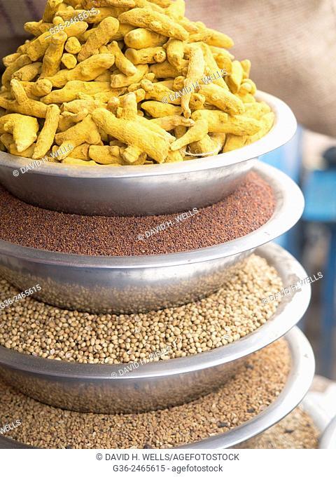 Vessel full of Indian spices, Varanasi, Uttar Pradesh, India