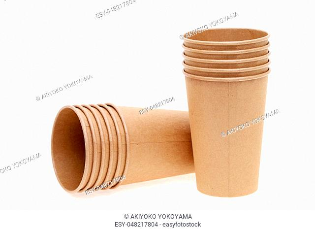 Disposable paper cup isolated on white background