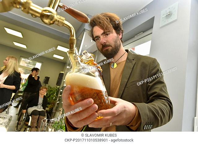 The series of auction bottles Pilsner Urquell 2017 are being created at Moser glassworks in Karlovy Vary, Czech Republic, on November 1, 2017