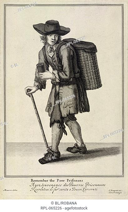 Remember the poor prisoners, A man collecting for ex-prisoners. Image taken from The Cryes of the City of London Drawne after the Life