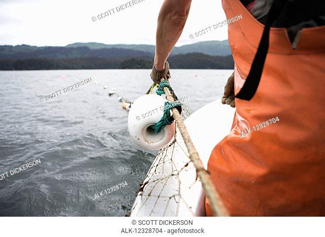 Set-net fishermen pulling the net aboard a set-net skiff, South-central Alaska; Seldovia, Alaska, United States of America