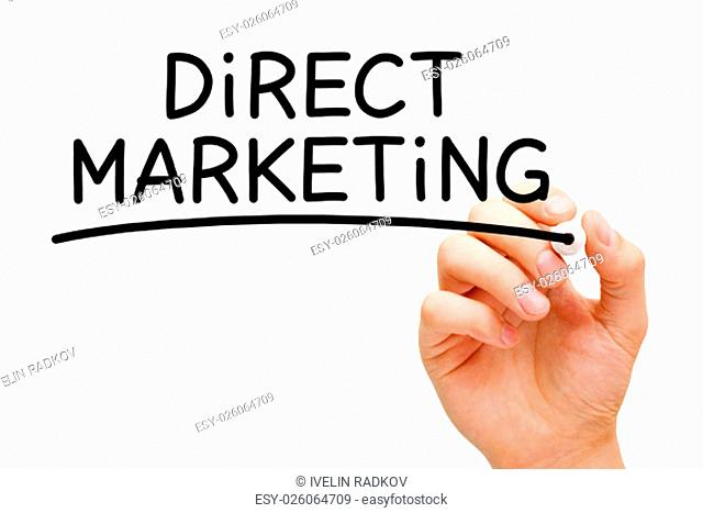 Hand writing Direct Marketing with black marker on transparent wipe board