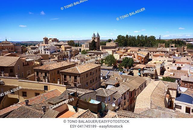 Toledo aerial skyline in Castile La Mancha of Spain
