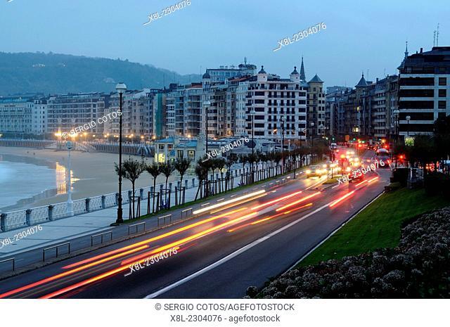 Night traffic in San Sebastian, Basque Country, Spain, ride shell