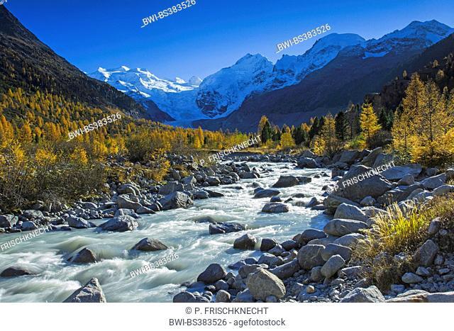 Piz Palue, 3905 m, Piz Bernina, 4049 m, Piz Morteratsch,3751 m, Switzerland, Grisons, Oberengadin