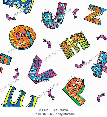 cat alphabet seamless pattern