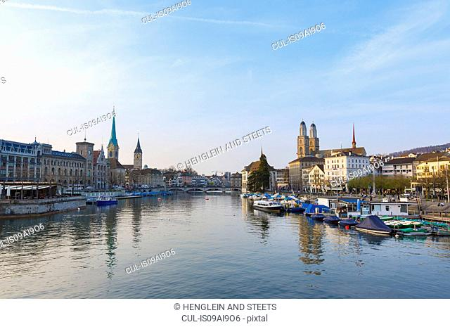 Limmat river, Fraumunster church, Grossmunster church Zurich, Switzerland