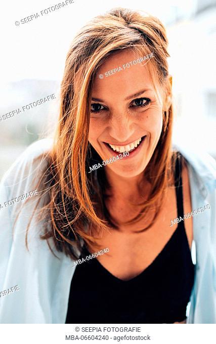 Happy woman, half portrait
