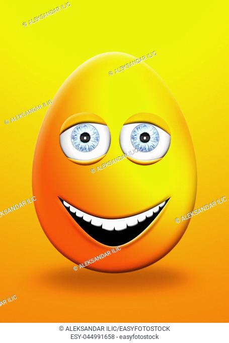Easter Egg With Eyes and Mouth Feeling Happy and Cheerfull 3D Illustration