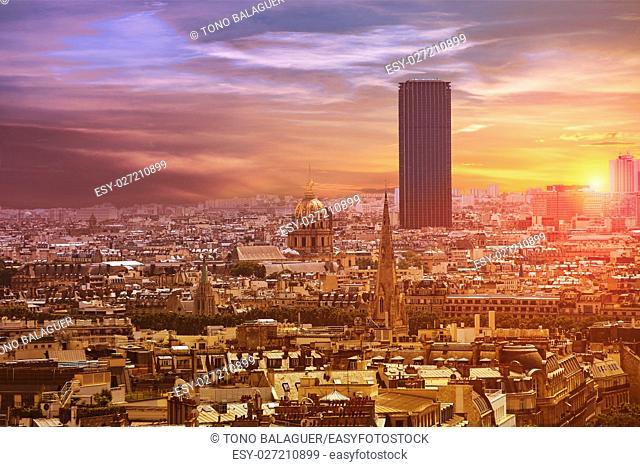 Paris skyline aerial view in France