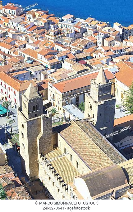 Top view of Cefalu, Cefalu, Sicily, Italy, Europe