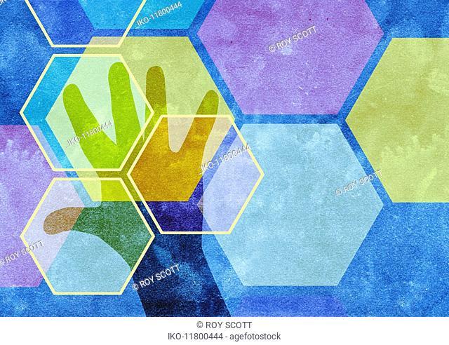 Hexagonal pattern over man's hand