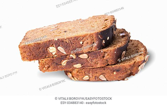 Unleavened three pieces bread with seeds on each other isolated on white background