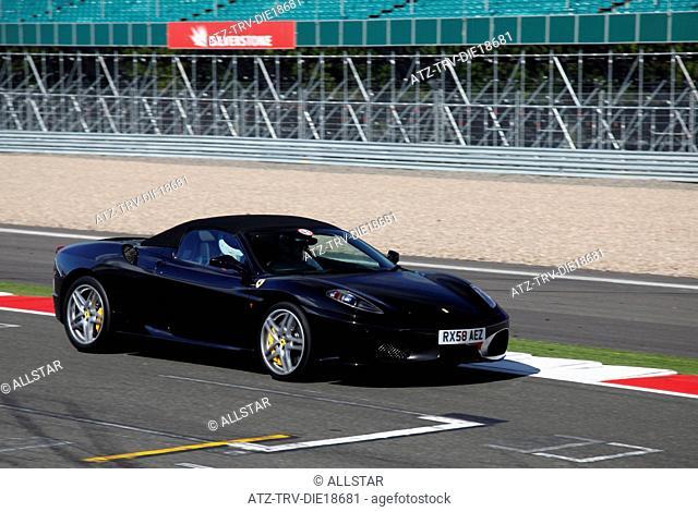 BLACK FERRARI 430 SPIDER CAR; SILVERSTONE CIRCUIT, ENGLAND; 14/09/2011