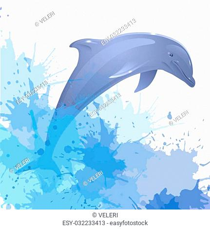Illustration with dolphin and watercolor splashes for your creativity