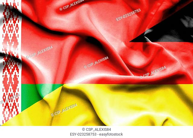 Waving flag of Germany and Belarus