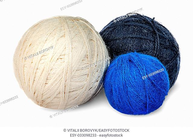 Several coils wool yarn in different colors isolated on white background