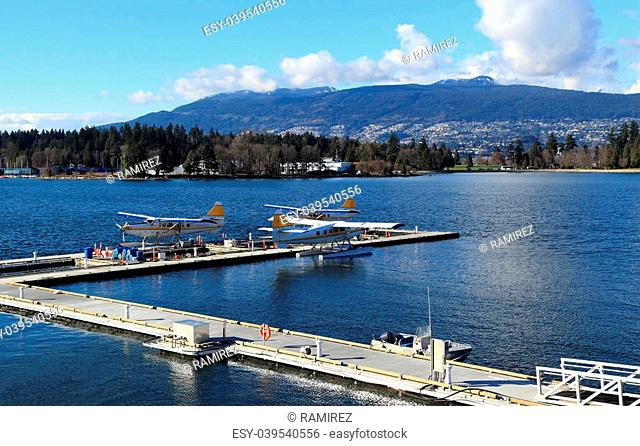 Three float planes docked in a harbour