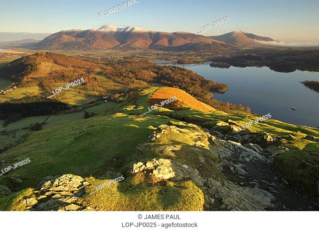 England, Cumbria, Keswick, A view across Derwent Water towards Skiddaw and Blencathra from Cat Bells