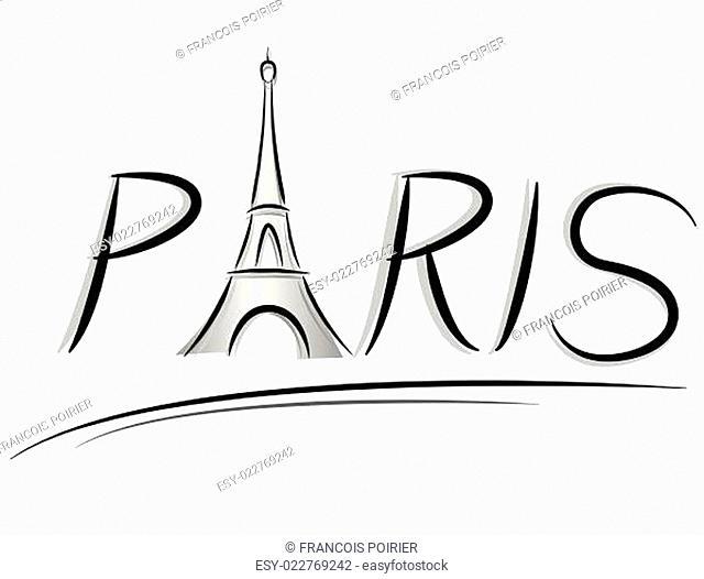 Paris text illustration