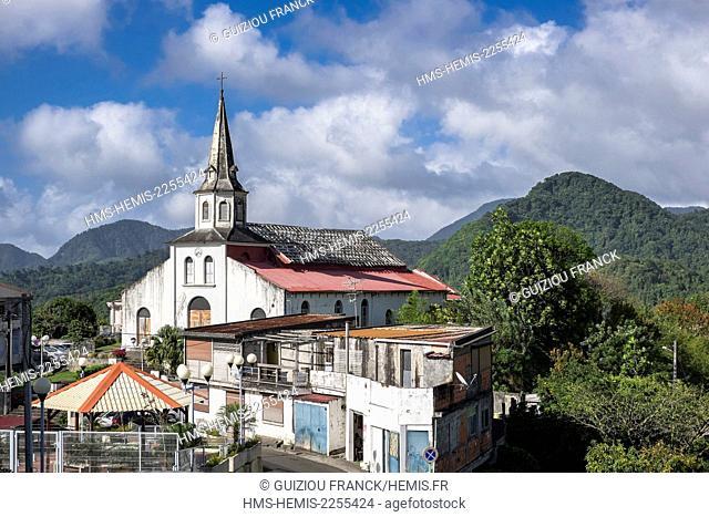 France, Martinique, Le Morne-Vert, village located on a ridge 400m above sea level, Saint-Martin church