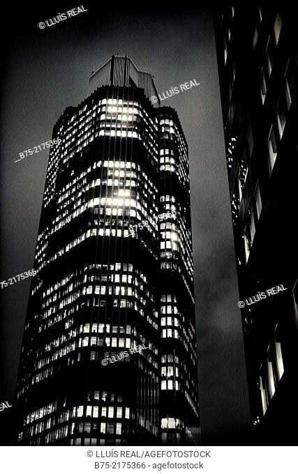 Tower 42 building, at night with the lights on in the windows in the city of London, England, UK, Europe