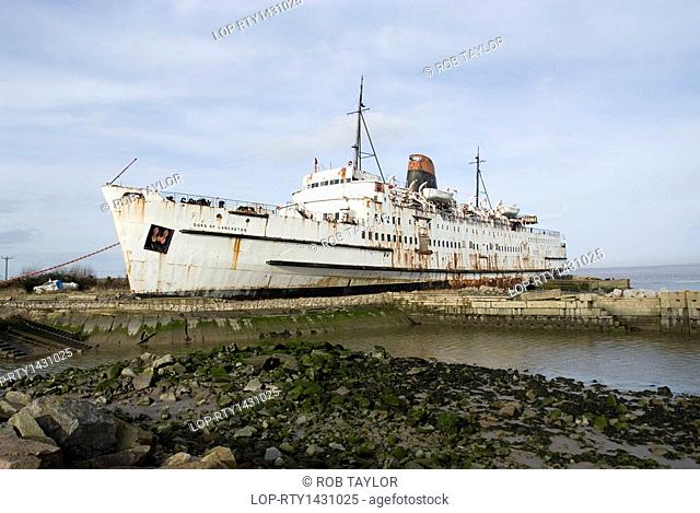 Wales, Flintshire, Mostyn. The Duke of Lancaster, a railway steamer passenger ship rusting in its final berth on the Dee estuary