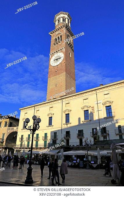 Torre dei Lamberti from Piazza dell Erbe, Verona, Italy, Veneto