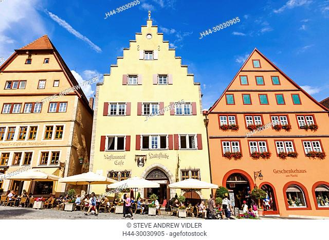 Germany, Bavaria, Romantic Road, Rothenburg ob der Tauber, Restaurants and Cafes in The Market Square