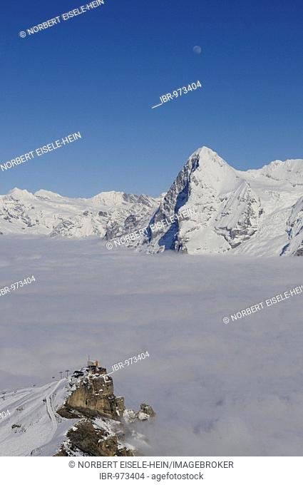 Panoramic view from Mt Schilthorn, Piz Gloria over the Birg summit station on the Eiger with north face, Lauterbrunnen, Bernese Alps, Switzerland, Europe