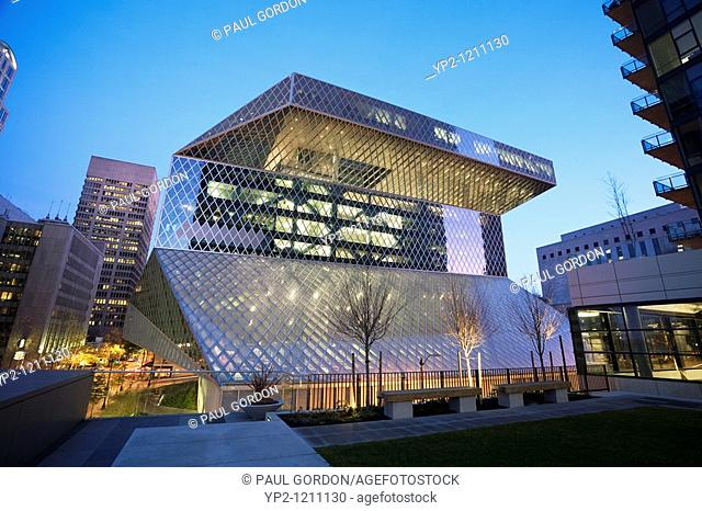 Seattle Central Library, Seattle, Washington, Early Morning Exterior South Side of Building looking over 4th Avenue