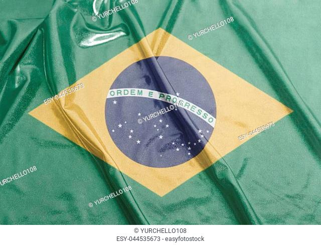 Waving National flag of Brazil background close up