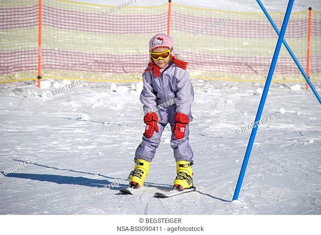 children skiing course