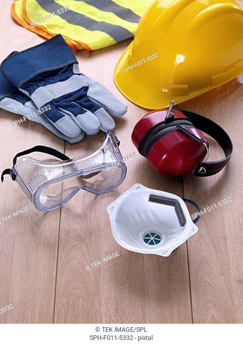 A variety of safety equipment for the construction industry