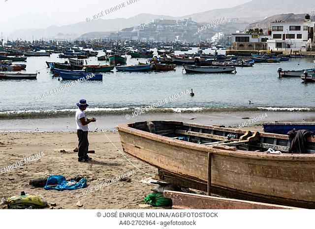 Pucusana port in the Pacific coast. Lima department, Peru