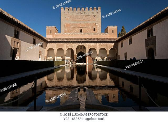 Courtyard of the Myrtles, The Alhambra, Granada, Spain