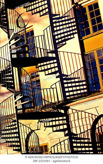 Stairway with Shadows, Modern Art Museum (Moderna Museet), Skeppsholmen, Stockholm, Sweden