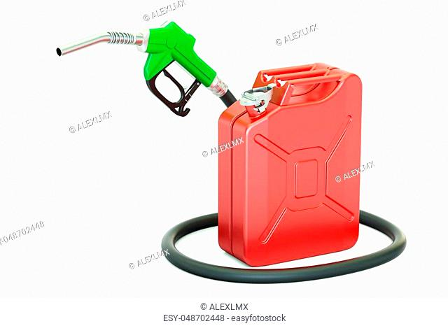 fuel pump nozzle with jerrycan, 3D rendering isolated on white background
