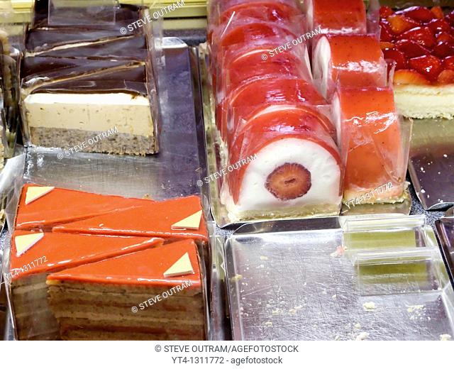 Display of delicious confectionary, Cafe Mozart, Vienna, Austria
