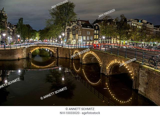 Reguliersgracht at night, Amsterdam, Holland, Netherlands