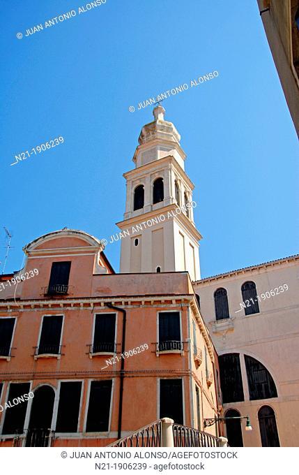 Tower of the Sant'Antonin Church from the Ponte de Sant'Antonin. Venice, Veneto, Italy, Europe