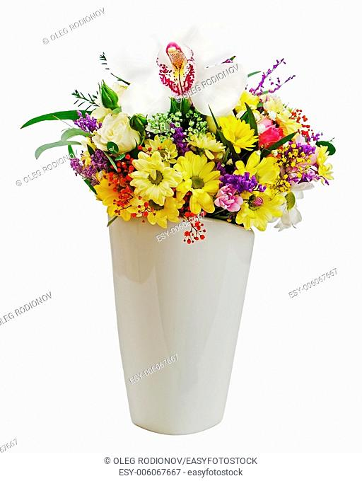 Colorful flower bouquet in vase isolated on white background. Closeup