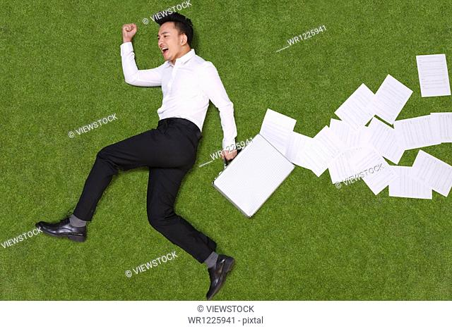 Young man holding briefcase lying on grass