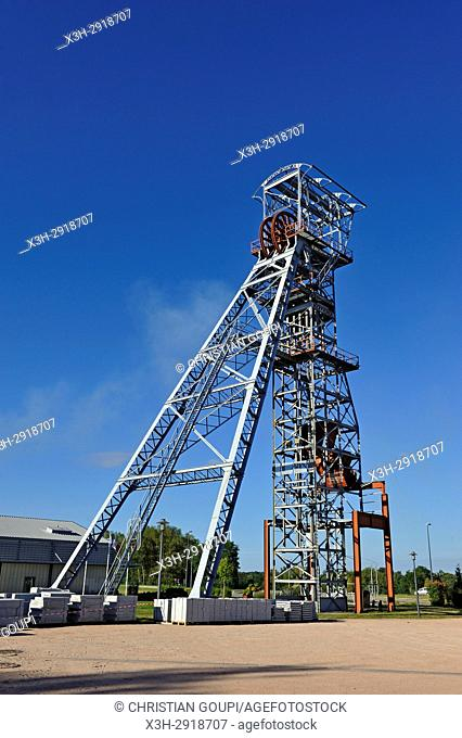 headframe of the former mine shaft named Saint-Joseph, Saint-Eloy-les-Mines, Puy-de-Dome department, Auvergne-Rhone-Alpes region, France, Europe