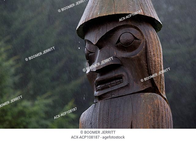 Water drips from a welcome pole during a heavy downpour erected at Friendly Cove on Vancouver's west coast. Yuquot, Vancouver Island, British Columbia, Canada